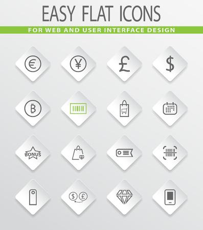 exchanger: E-commerce easy flat web icons for user interface design