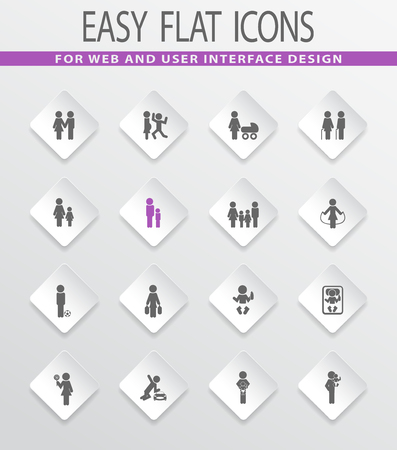 homosexual couple: Family easy flat web icons for user interface design Illustration