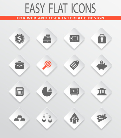 finance easy flat web icons for user interface design