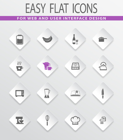 hubcap: Food and kitchen easy flat web icons for user interface design