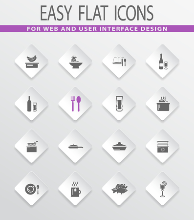 Food and kitchen easy flat web icons for user interface design