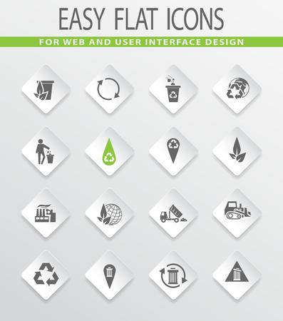trashing: Garbage easy flat web icons for user interface design