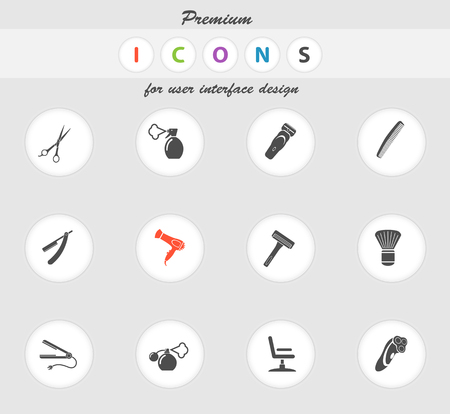 clippers comb: Barbershop icons set for web sites and user interface Illustration