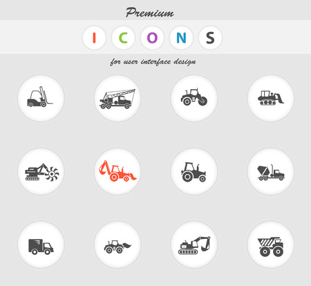 earth mover: Construction Machines color icon for web sites and user interface Illustration