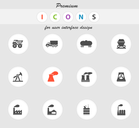 smoke stack: Factory and Industry icons set for web sites and user interface