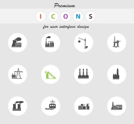 smoke stack: Factory and Industry Symbols in eps 10 Illustration