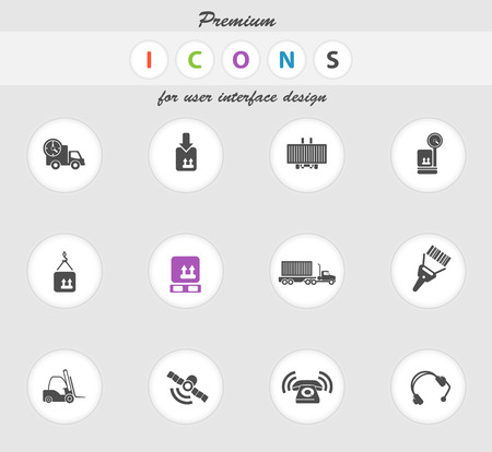 overnight delivery: Logistics vector icons for web sites and user interface Illustration