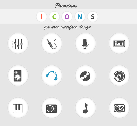 dvd rom: Audio and music icons set for web sites and user interface