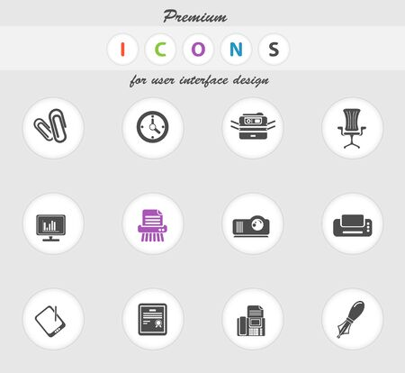 Office icons set for web sites and user interface