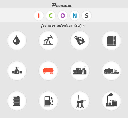 fossil fuel: Oil and petrol industry objects icons in eps 10