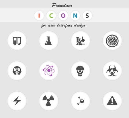 gas mask warning sign: Science icons set for web sites and user interface
