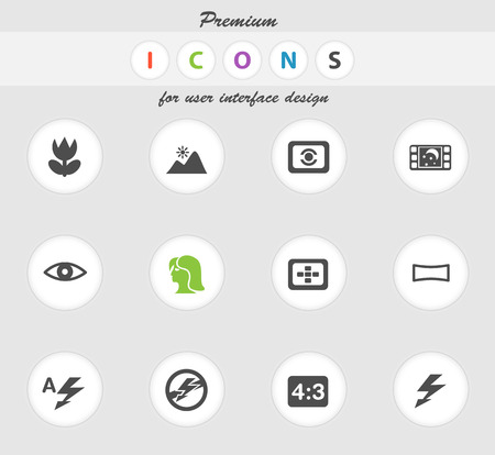 macro film: Photo modes icons set for web sites and user interface