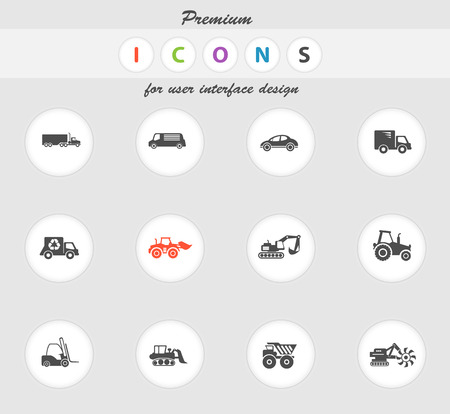 earth mover: Transportation and Loading Machines  vector icons for web sites and user interface Illustration