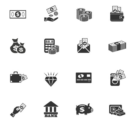 Iconos del Web del dinero de la mano y de diseño de la interfaz de usuario