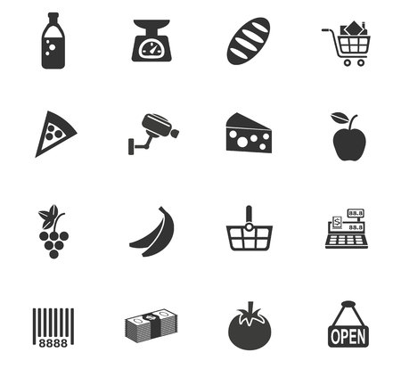 mineral water bottles: grocery store web icons for user interface design