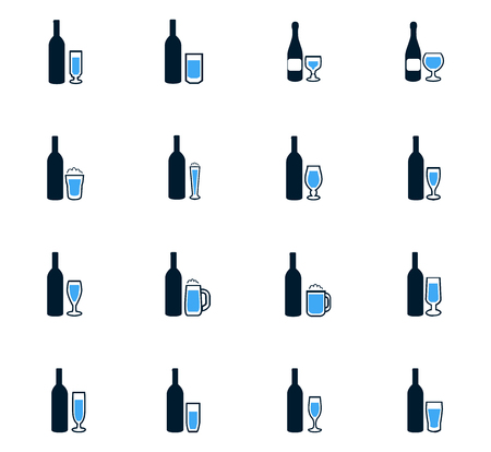 coke: Glasses and cups symbol for web icons Illustration