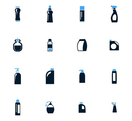 food hygiene: Household chemicals icon set for web sites and user interface Illustration