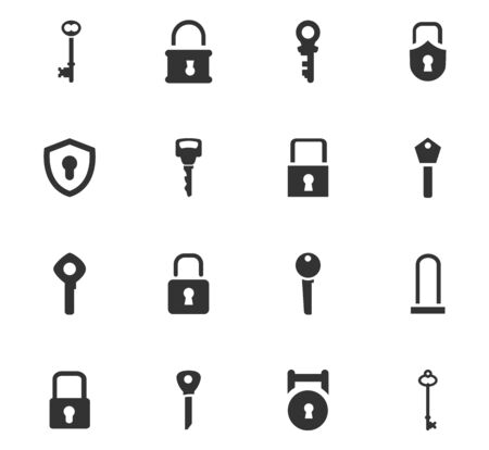 lock and key: Lock and Key icon set for web sites and user interface