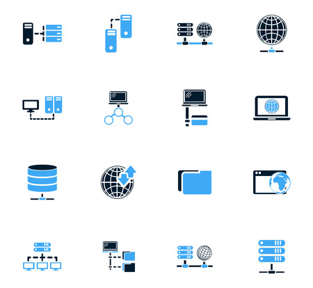 remote access: Internet, server, network icon set for web sites and user interface