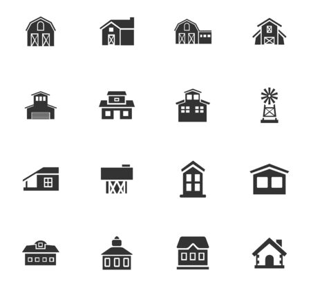 stables: farm building icon set for web sites and user interface