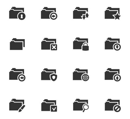 construction paper art: Folders icon set for web sites and user interface Illustration