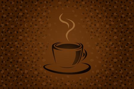 chicchi di caff?: Tazza di caffè semplice sfondo vettoriale per la progettazione Vettoriali