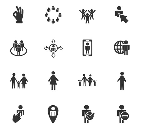 crowd happy people: community web icons for user interface design