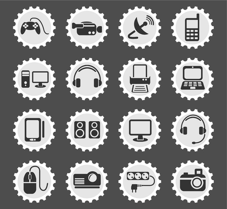 lcd monitor printer: devices web icons for user interface design
