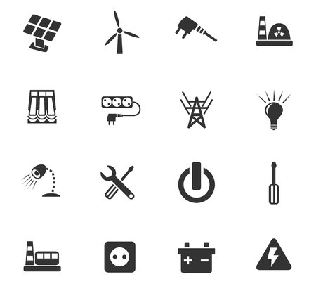 electric power: electricity web icons for user interface design Illustration