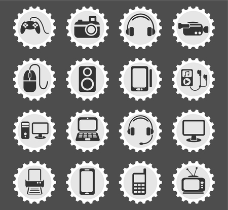 lcd monitor printer: gadget web icons for user interface design