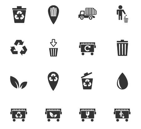 trashing: garbage web icons for user interface design Illustration