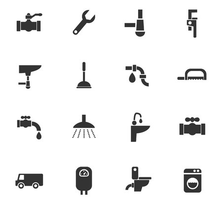 siphon: plumbing service web icons for user interface design