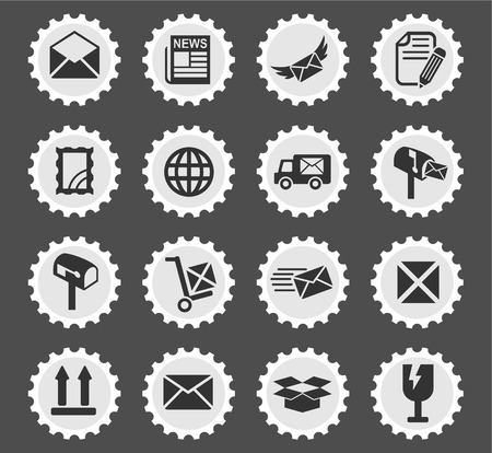 news van: post service web icons for user interface design