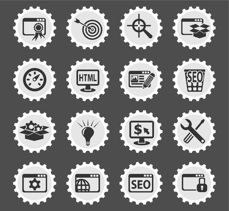 web presence internet presence: seo and development web icons for user interface design
