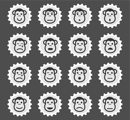 skepticism: Monkey emotions simply symbol for web icons and user interface