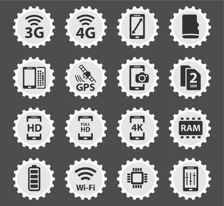 carnero: Tel�fono inteligente simplemente s�mbolo de iconos de la web y la interfaz de usuario Vectores