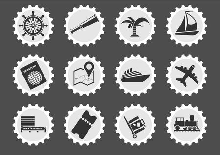Toerisme en reizen zijn eenvoudig symbolen voor web- en gebruikersinterfaces Stockfoto - 54815377