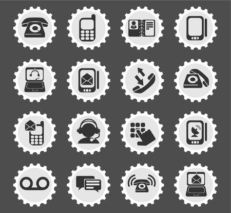 directorio telefonico: Tel�fono simplemente s�mbolos para la web y la interfaz de usuario Vectores