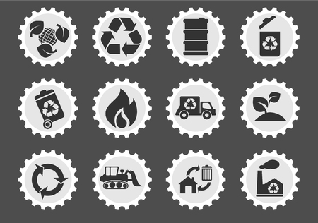 fire damage: Recycle simply symbols for web and user interface Illustration