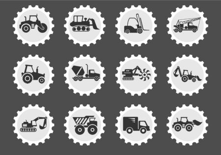 using voice: Construction Machines  simply symbols for web and user interface Illustration