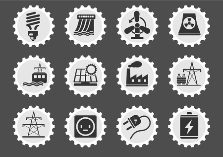 power station: Energy and Industry  simply symbols for web and user interface