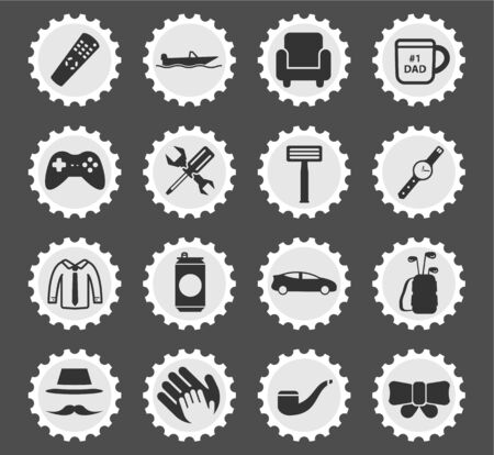 smocking: Fathers day simply symbols for web icons