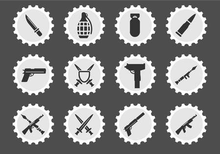 frag: Weapon simply icons for web and user interface Illustration