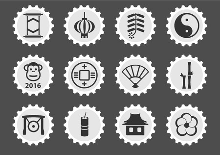 fortuna: Chinese New Year simple icons for web Illustration