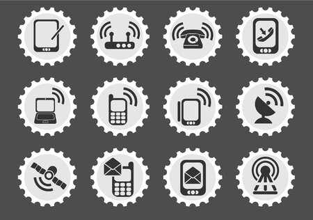 telecommunications equipment: Mobile  simply symbols for web and user interface