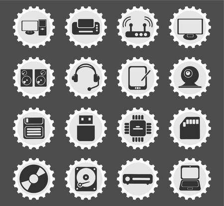 using voice: Computer equipment  simply symbols for web and user interface Illustration