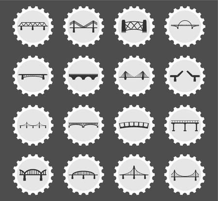 balustrade: Bridges black silhouette simply icons for web