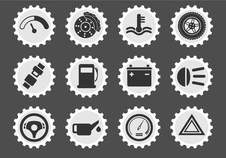 wheel change: Car interface simply symbol for web icons and user interface Illustration