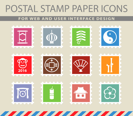 chinese postage stamp: Chinese New Year simple icons for web Illustration