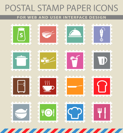 chinese postage stamp: Food and kitchen simple icons for web
